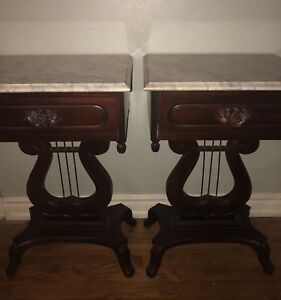 Details About Antique Marble Top Mahogany End Tables