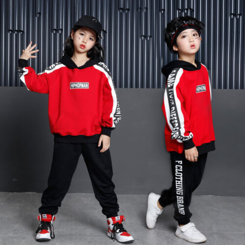 Girls Boys Loose Ballroom Jazz Hip Hop Dance Competition Costume Wear Clothes