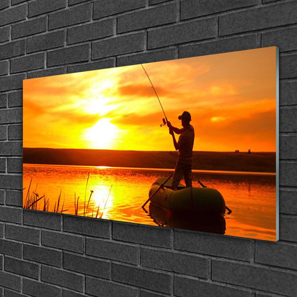 Tableau sur verre Image Impression 100x50 Paysage Pêcheur Mer