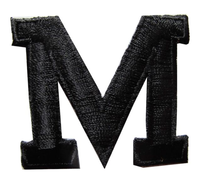 "1-3/4"" Black Letter ""M"" Embroidery Iron On Applique Patch"