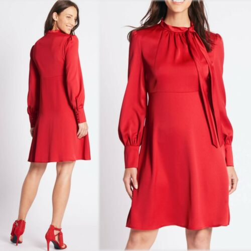 M/&S Satin TIE NECK Long Sleeve SWING DRESS ~ Size 14 16 or 18 ~ RED