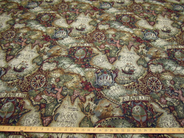 Magellan Old World Map tapestry upholstery fabric color jewel ft706