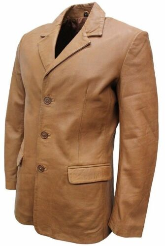 En Tan Cuir Homme Douce Slim Fit Classique Slim Tailored Jim Blazer Veste HXqxF