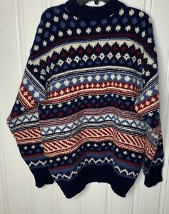 Details about Scandia Size Large Mens Vintage Multicolor Print Wool Sweater Denmark
