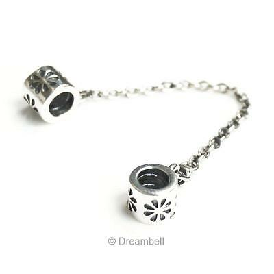 Sterling Silver Flower Safety Chain Screwed-on Bead For European Charm Bracelets