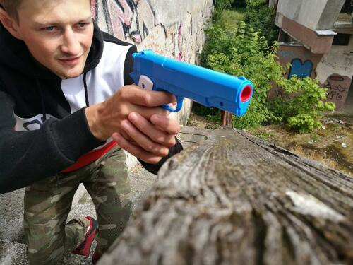Childrens Playset Colt 1911 Toy Gun with Soft Bullets Training Aiming Skills