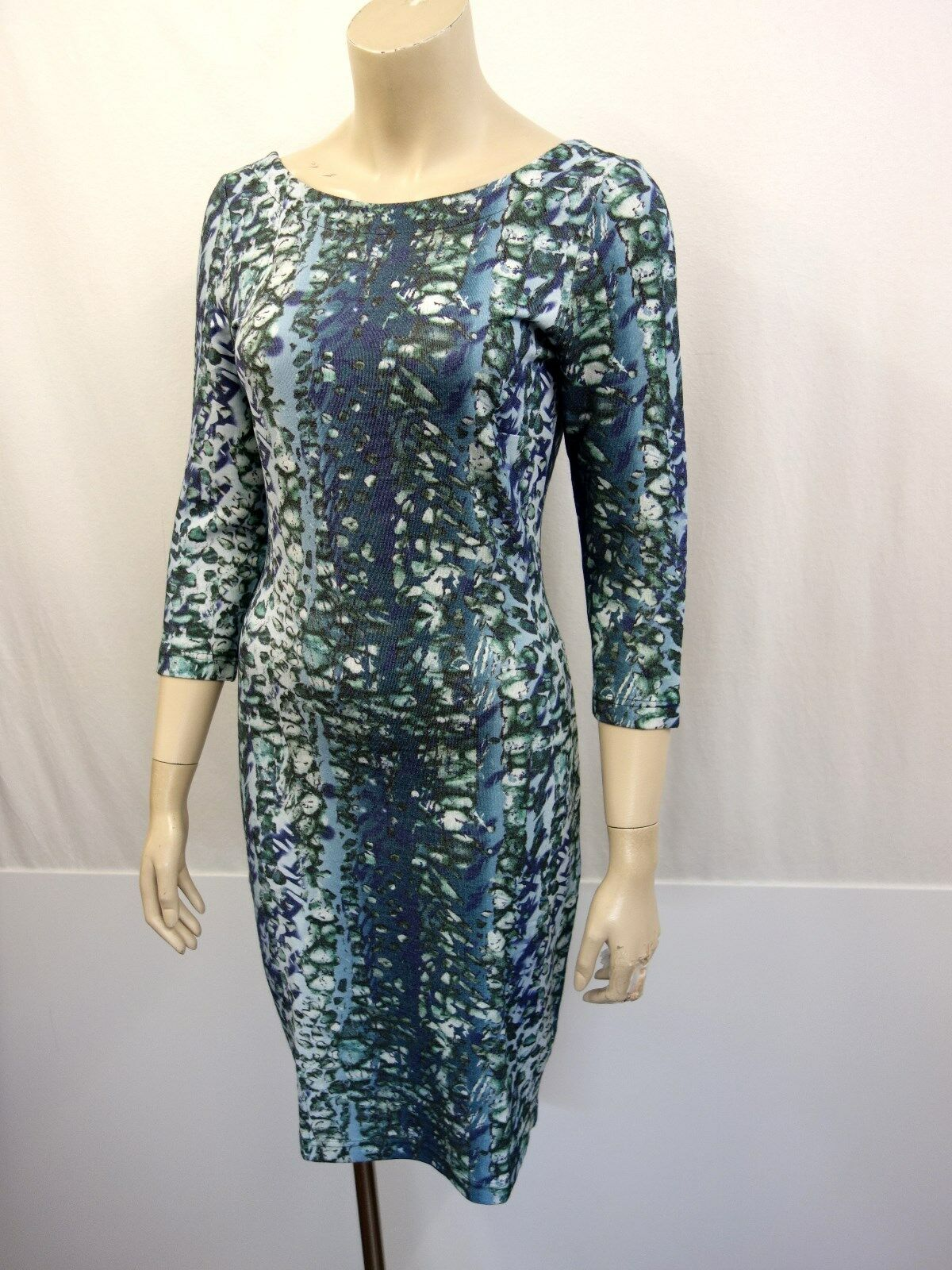 ESCADA SPORT Designer Designer Designer Stretch Shirtkleid Dress Gr.34 3 4 Arm blue white green 161e17