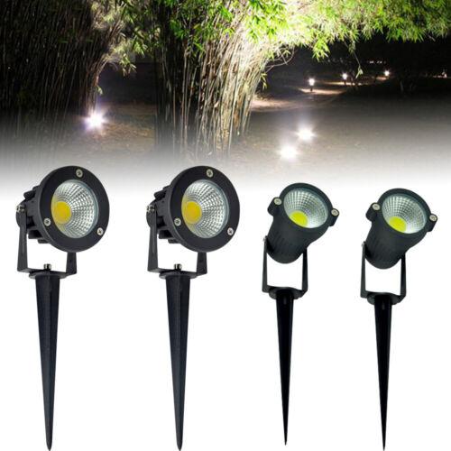 4x 7W COB Gartenstrahler Außenstrahler Außenlampe LED Kaltes Weiß Licht+Erdspieß