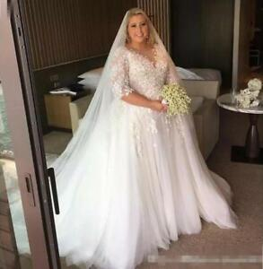 Details about Vintage Lace Plus Size Wedding Dress Bridal Gown with Lace  Mid Sleeves Cheap