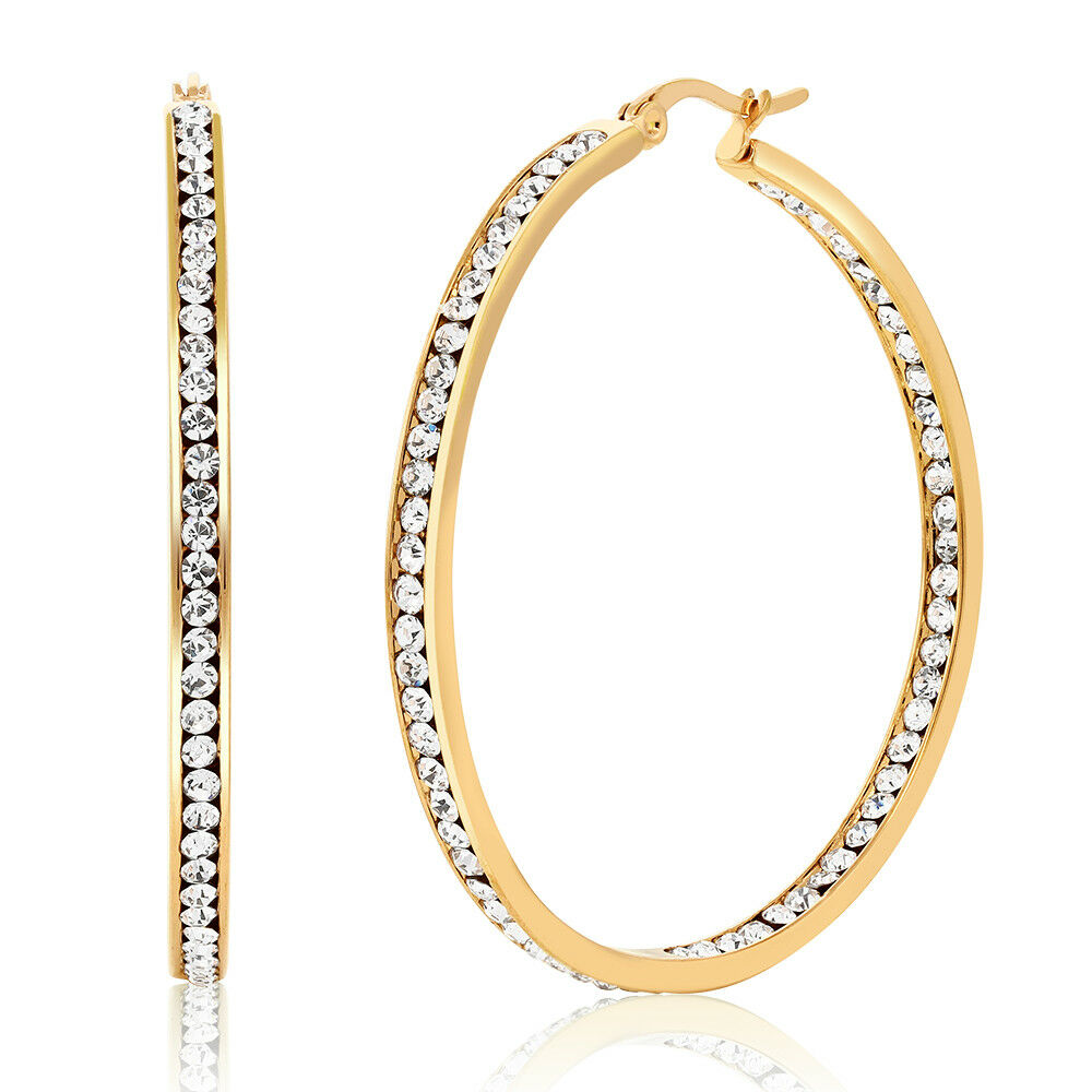 2 Inch Stainless Steel Yellow Plated High Shine Inside-Out Hoop Earrings With CZ