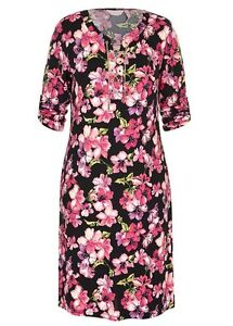 Gold-chain-lace-up-Neck-3-4-sleeve-PINK-floral-stretch-dress-size-16-NEW