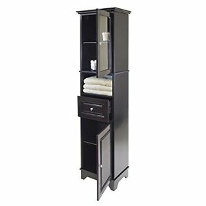 black linen cabinet storage tower tall bathroom laundry