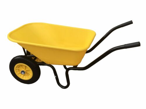 110L TWIN WHEELBARROW WITH PNEUMATIC WHEEL & YELLOW PLASTIC BODY WHEEL BARROW