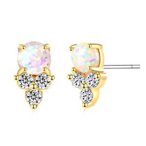 Details About Opal Stud Earrings 14k Gold Plated Sterling Silver Post Dainty Women S Gift