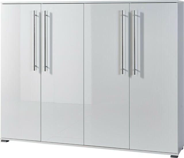 Schuhschrank Flurschrank 4 Türen weiß Hochglanz Germania Inside   eBay