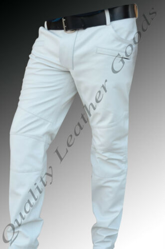MENS SHEP LEATHER JEANS THIGH FIT OUTRAGEOUSLY LUXURY PANTS TROUSERS IN WHITE