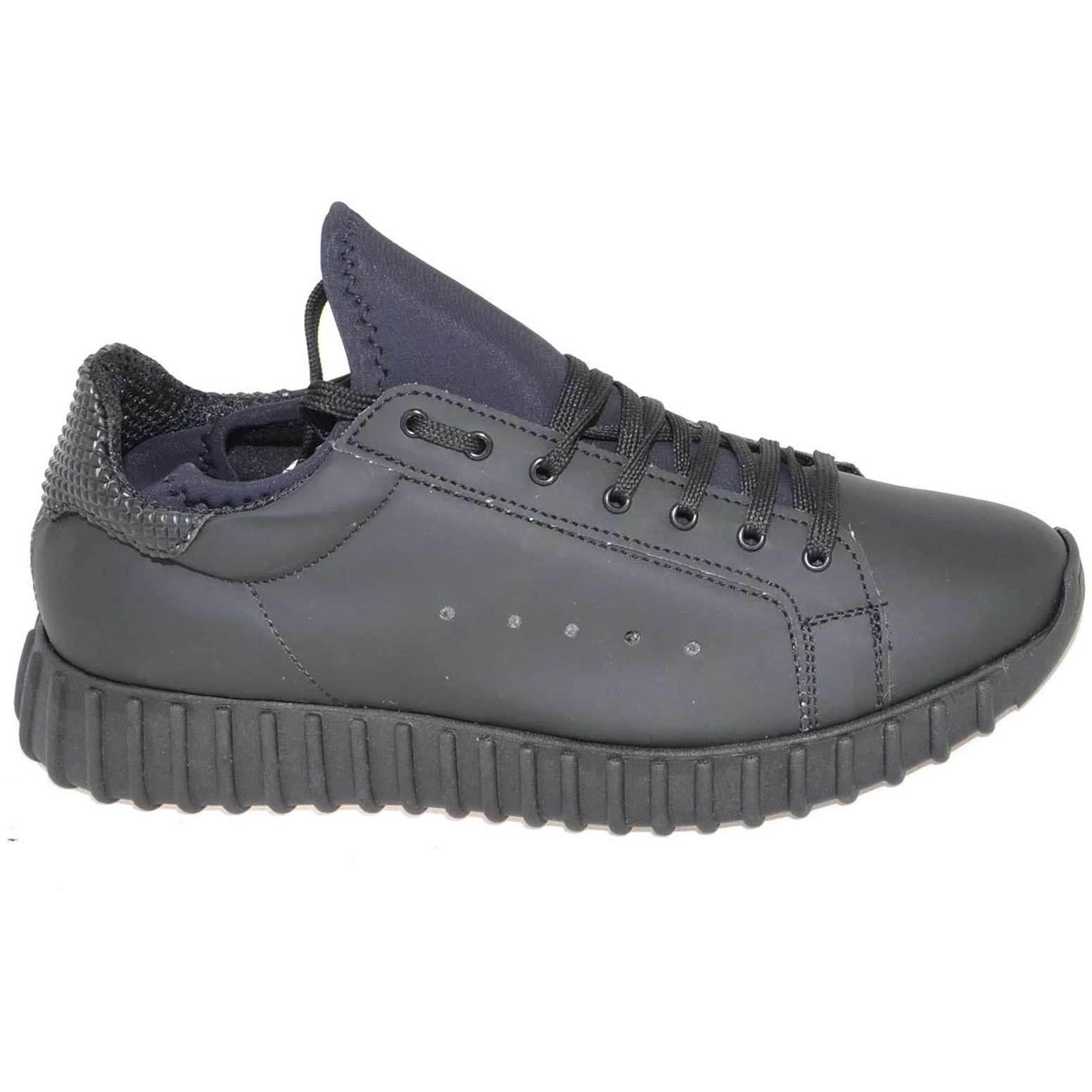 Zapatos de mujer baratos zapatos de mujer Zapatillas bassa uomo art.323 nera pelle gommato con fondo running made in italy m
