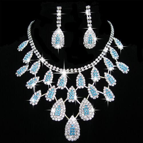 Pretty Prom Wedding Bridal Party Jewelry Crystal Rhinestone Necklace Earring Set