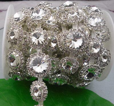 costume applique white glass rhinestone silver claw trim chain Applique 1 yard