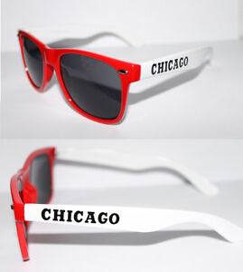 Retro Sonnenbrille Chicago Bulls Farben rot weiß Kult Brille Unisex 815 dLhT76s