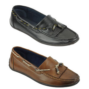Image is loading New-Mens-Faux-Leather-Low-Cut-Kilted-Loafers-