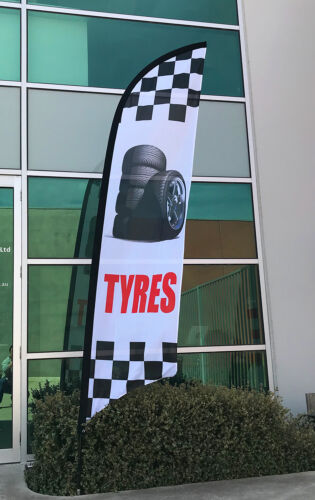 Tyres Flag Kit 3.5m Car Shop Advertising Banner Flag Kit Ship Today!