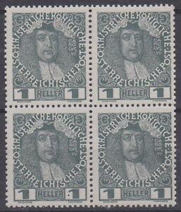 Osterreich-1913-Nr-139x-1-Heller-4er-Block-normales-Papier-postfrisch-ANK-6
