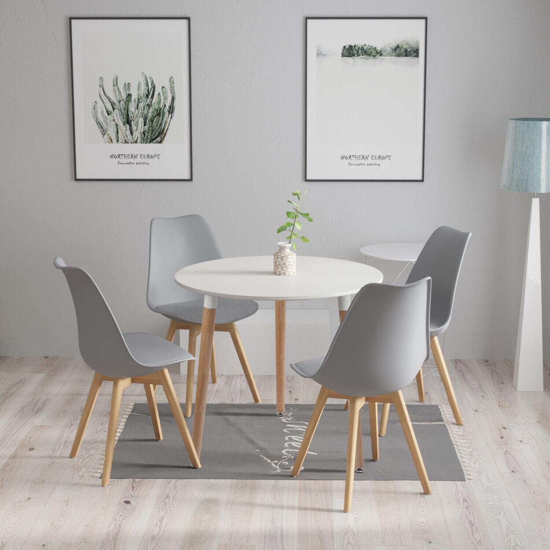 Rund Esstisch Weiss Mit 4 Stuhlen Retro 80x72cm Kuchentisch