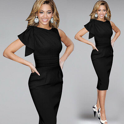 Fashion Sexy Women's Lady Short Sleeve Party Evening Bodycon Cocktail Midi Dress