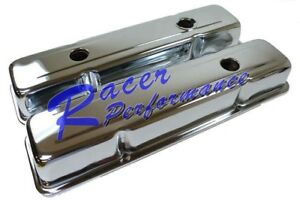 SBC-Chevy-350-Chrome-Short-Steel-Valve-Covers-w-Oil-Cap-Hole-283-305-327-400