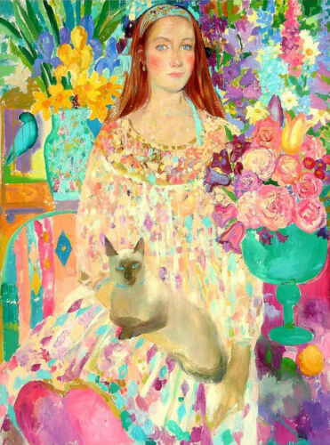 Oil painting young girls /& pets cats in spring landscape /& flowers free shipping
