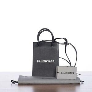 BALENCIAGA 950$ Shopping Phone Holder In Black Calfskin