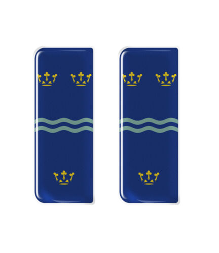 Gel Domed Number Plate Badges//Decals 107x42mm 2x Cambridgeshire Flag