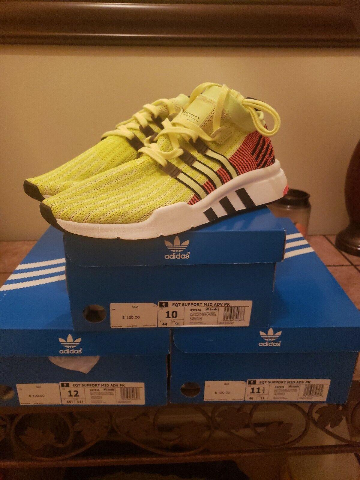 Adidas Men US 11.5. EQT Support Mid Mid Mid Adv Casual Sneaker Glow Black Turbo B37436 4f5d82