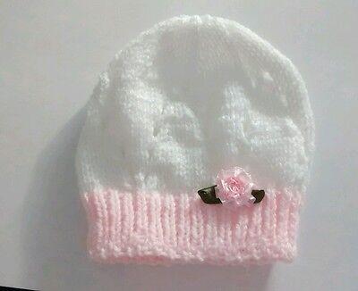 Hand Knitted Bebé Botines Zapatos Nuevo Blanco Y Rosa 0 - 3 meses