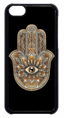 Hamsa Evil Eye Guard Hand Henna Case Cover for iPhone 4s 5 5s 5c 6 Plus Black