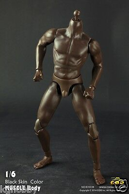 COOMODEL 1/6 Male Muscle Muscular Nude Figure Body fit hot toys head Black Skin