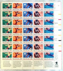 US Sheet MNH #2637-2641 29c 1992 Olympics Sports Stamps Plate # S11111 MNH OG VF