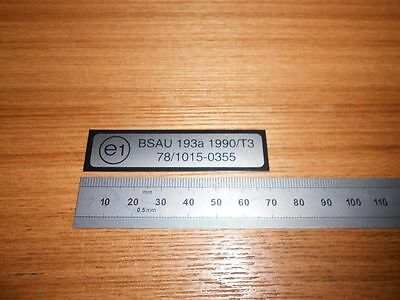 E1 BSAU sticker deca-MOT-EXHAUST TAG CAN STAMP MARKING PLATE--ROAD LEGAL-BSAU