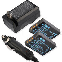 2 Battery +charger For Sanyo Xacti Vpc-hd1000 Vpchd1000 Vpc-hd1010 Vpchd1010