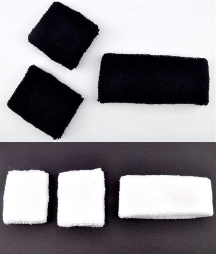 Set of 3 Sports Sweatband Wristband Headband Tennis Gym Yoga Plain Black White