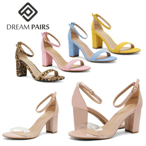 DREAM PAIRS Women/'s Ankle Strap Chunky Heel Sandals Open Toe Pump Dress Shoes