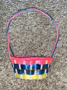Vintage Easter basket vinyl plastic tricolored blue pink yellow 11""