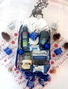 Holiday Men Dove Bath Body Spa Russell Stover Chocolates Candle Gift Basket