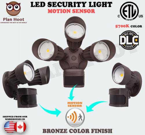 10W 20W 30W Bronze Motion Sensor Activated ETL DLC LED Outdoor Security Light