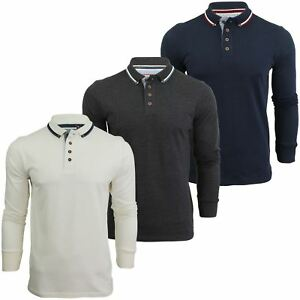 Mens-Polo-T-Shirt-by-Brave-Soul-039-Kennedy-039-Tipped-Collar-Long-Sleeved