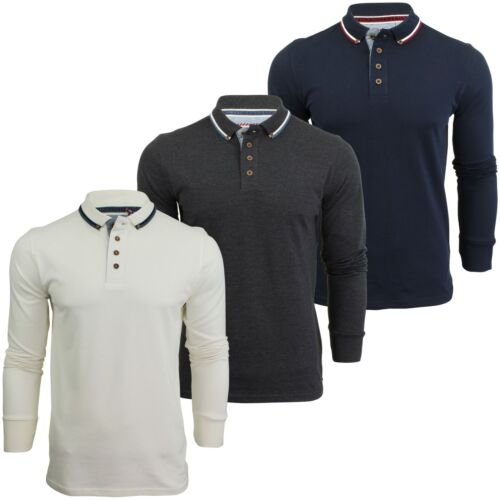 Mens Polo T-Shirt by Brave Soul /'Kennedy/' Tipped Collar Long Sleeved