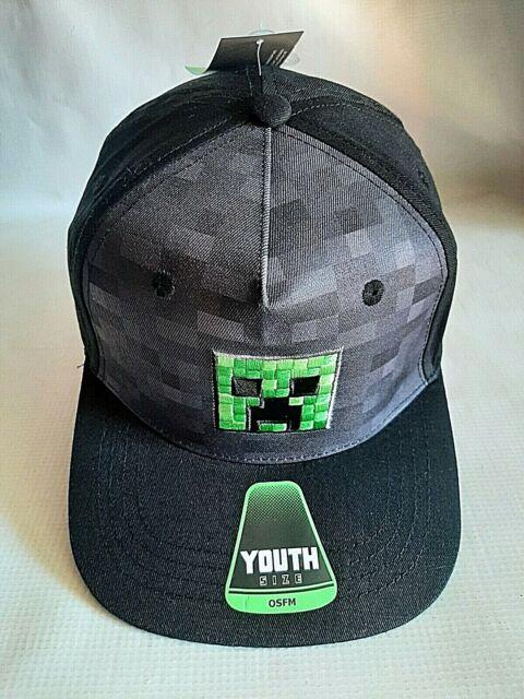 MINECRAFT Green /& Black Mesh Trucker Snapback Hat Cap Mojang  NWT