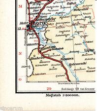 Thorn Toruń 1897 winzige orig. Eisenbahn-Karte Lipno Mirakowo Ziechosinek Gollub