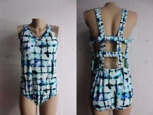 45f4fbd9fd7e8 New Rachel Roy Blue White Grid Caged Strappy Back Tie Dye Swimsuit ...